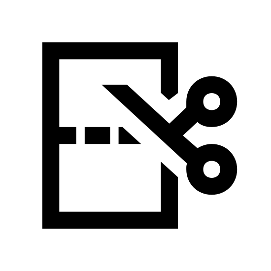 Разрезать бумагу icon. A logo with a vertical rectangle, dashed lines across the middle of the rectangle indicating where to cut, with a scissor at the start of the dashed lines. The whole logo is not colored. Only black lines are used.
