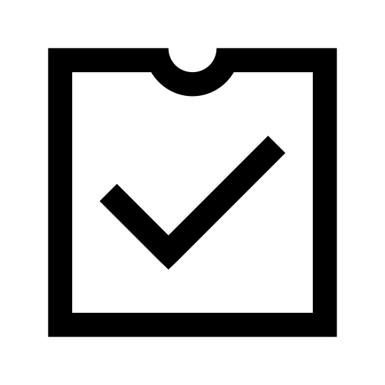 Data Quality icon. This is an image of a box with an open top. There is a small semicircular indentation at the very center of the front most top edge of the box. In the center of the box's front most side is a check mark.