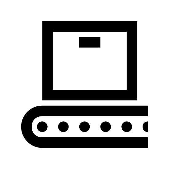 Wdrożenie icon. A square with a very thin oval inside the center top part of it. Underneath the square after a small gap of space is a long oval with a curved ending on the left and three small circles spaced horizontally inside.