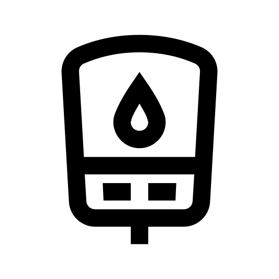Glukometr icon. This image is of a ( main shape) small sideways rectangle shape with a small square in the center and two very small vertical rectangles on the inside lower half of the main shape. There is also a teardrop shape in the very center of the icon.