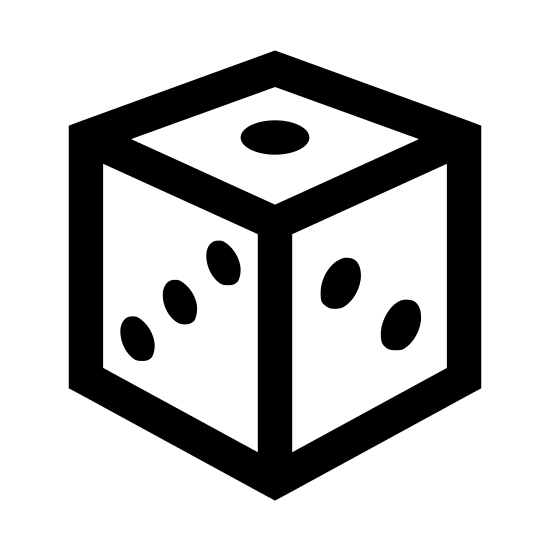 Dado icon. There is a cube with rounded edges. The cube has three diagonal dots on the side facing the viewer and the other visible side on top has one dot visible.