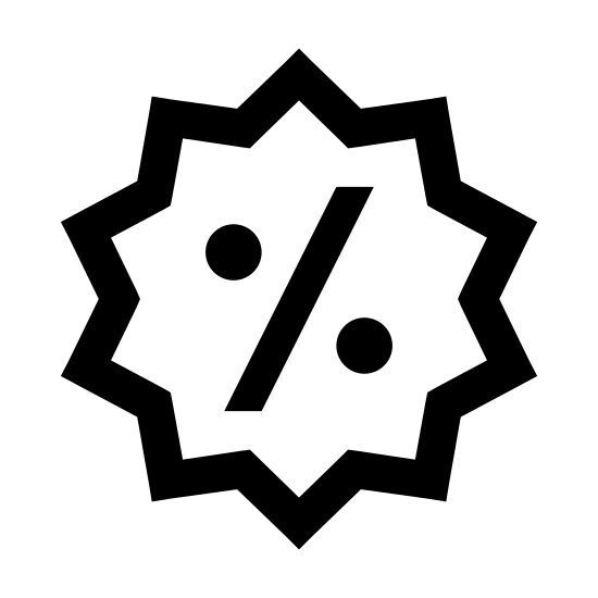 Zniżka icon. It's a circular shape with triangular points on all sides. In the middle there is percentage symbol- a slanted line starting from the bottom left and going to the top right, with two zeros on either side of it.