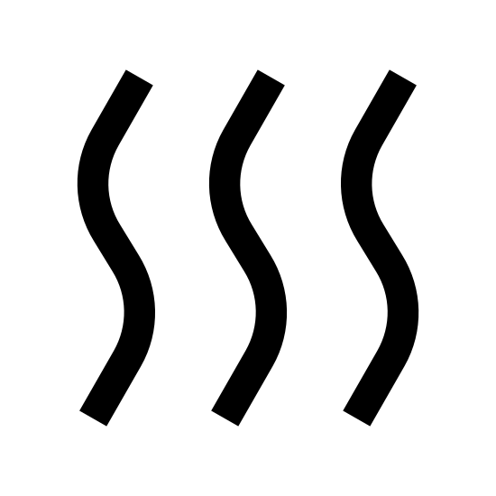 Sec icon. It consists of three identical squiggly lines aligned parallel to one another. All three lines look some what like the letter 'S.' The curves are a bit smaller though, creating a more vertical shape.