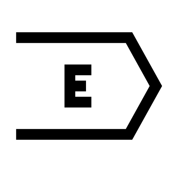 Восток icon. This is a logo to describe the direction East. In the center of the shape is the capital letter E. The shape it's inside of are two identical long lines on the top and bottom, then two more lines coming to a point.