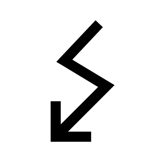 Elektrizität icon. This icon is a zigzag arrow pointing downwards. The arrow starts with slanted lines at the top that veer right, then downwards and slightly to the left again. The lines converge at the bottom in the shape of an arrowhead pointing downwards and slightly left.