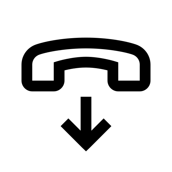 End Call icon. It is an image of a land-line telephone handle from several years ago, set sideways to show its full length. Beneath the telephone handle is an arrow pointing down, which suggests placement on its cradle which would signify the end of a call.