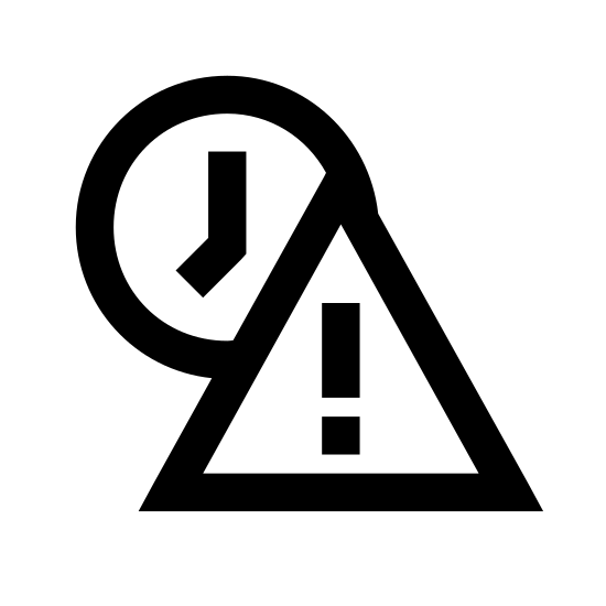 Просроченный icon. The icon is of two shapes, one triangle shape with an exclamation point in the center of the triangle, and a circular clock shape directly behind it. The clock is positioned behind the triangle in the top left corner.