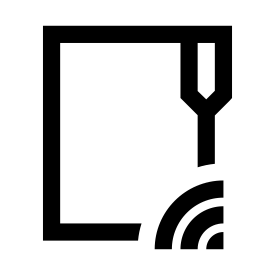 FTP icon. This icon is a file folder symbol with the wi-fi network symbol in the upper right corner. The wi-fi symbol has been transposed to fit within the corner and it is shown upside down with the smallest dot at the top rather than the bottom. The wi-fi symbol is also at a 45 degree angle rather than straight up and down which is how the icon is normally visualized.