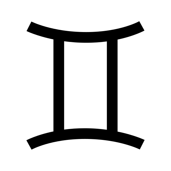 Gemini icon. This particular icon has two vertical lines that are sitting parallel to each other. At the ends of both lines is a curved line that curves inwards towards the two vertical lines.