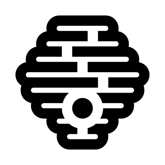 Hive icon. The icon is composed of numerous rounded rectangles, stacked in an ascending, then descending size order, as to form a hexagon shaped bee hive. The rectangles are connected at random points on their edges to indicate coherence. An entry hole is visible toward the bottom of the hornet hive.