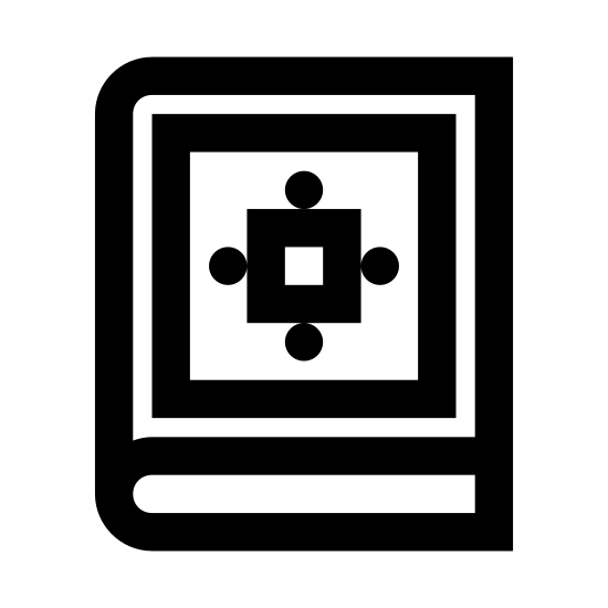Quran icon. The icon is a book.  The main shape of the book is a rectangle, short lines are horizontal and the long lines are vertical.  Inside the middle of the main rectangle is a smaller one, and inside that is a design resembling a flower, with two dots placed on each corner of the image.