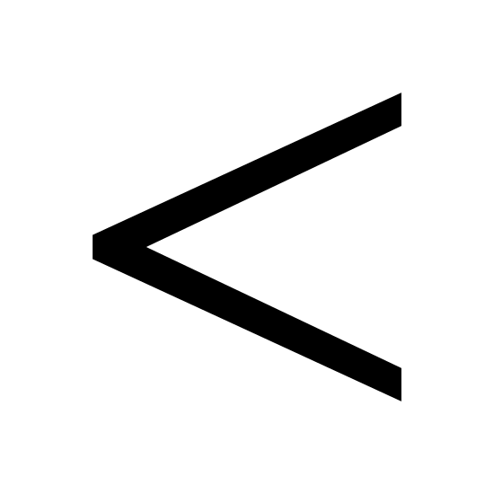 Mniej niż icon. This is a picture of an arrow than is pointing to the left side. the arrow has two sides altogether. it is trying to show that it is less than something else.