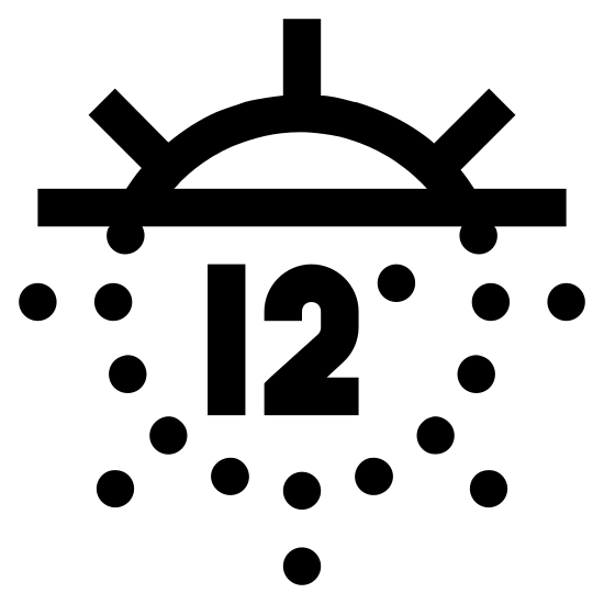 Zmierzch żeglarski icon. The image is of a circle with a line through the top portion of it. The line is horizontal and above center. The line is solid and so is the circle and rays coming from the circle above the line. Below the line, the circle and the rays are dotted. In the center of the dotted part of the circle is the number 12 with a degree symbol.