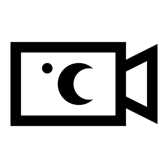Kamera nocna icon. The icon night Camera is a square with round corners Attached to the right side of the square is a triangle with the base pointed away from the square. Inside the square is a small circle at the top left corner and a crest moon towards the right middle side.