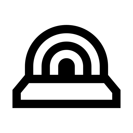 Stage icon. This shape has a rectangle on the bottom which is split into two horizontally. The bottom is slimmer than the top. On top of it are 4 curved lines starting from the right and ending on the left of the rectangle like a rainbow.
