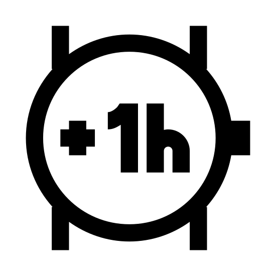 Plus 1 godzina icon. This icon consists of an outlined circle representing a wristwatch with a small rectangle placed on the right side representing the crown. Two parallel lines run vertically behind the circle, representing a wrist.