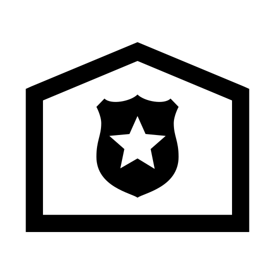 Posterunek policji icon. This logo is shaped like a house with a roof on the top that goes up to a point but not at a sharp angle.  In the base there is a shield with a star in the middle.  It is all black and white.