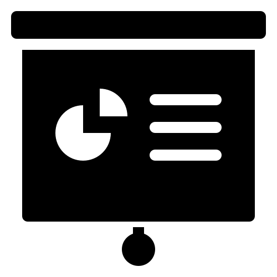 Presentation Filled icon. It's a logo representing presentation. There is a projector screen with a pie chart and three horizontal lines depicting writing. There is a small wide rectangle on the top of the projector where it would be pulled from and a string with a circle at the end to represent the drawstring.