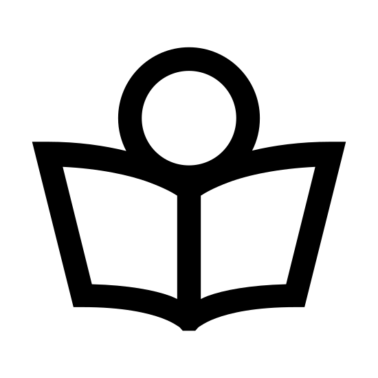 Lettura icon. A circle is at the top of the icon, representing a head, and two smaller, somewhat circle like shapes are on the right and left sides representing hands. between the hands are two rectangles drawn in a way to create a 3D impression, with a vertical line drawn down the middle, to create the appearance of a book