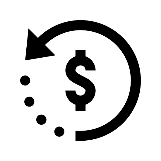 Restituição 2 icon. This is a picture of a dollar sign symbol surrounded by a circular arrow. the arrow is going in a counter-clockwise direction, and it's end is facing the left hand center side. the other end of the arrow is dashed
