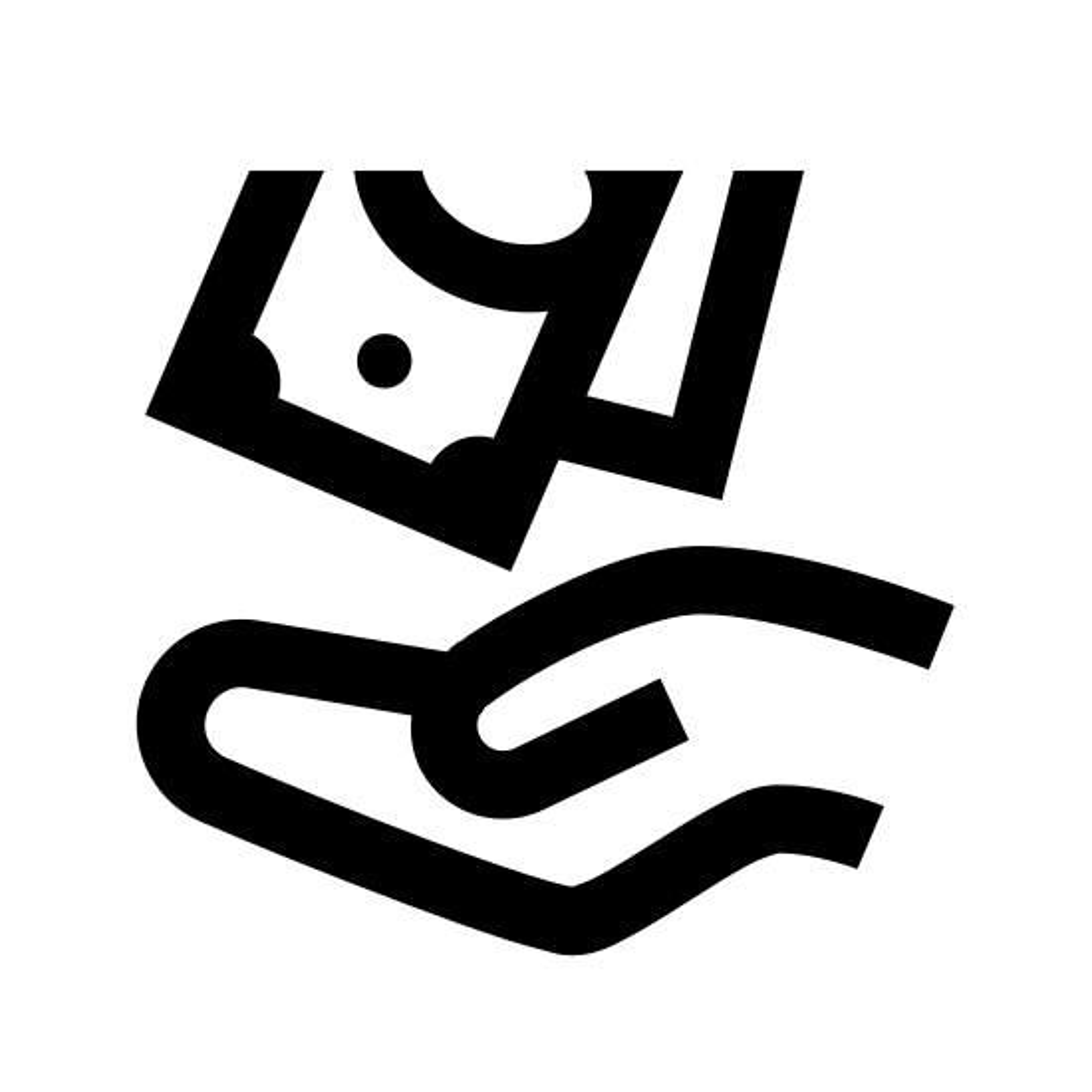 退款 icon. It's a logo of a hand on the bottom with money falling into it. The hand is facing upward to receive the money and the wrist is on the right and the fingers pointing to the left. There are two bills of money going to the hand from the top.