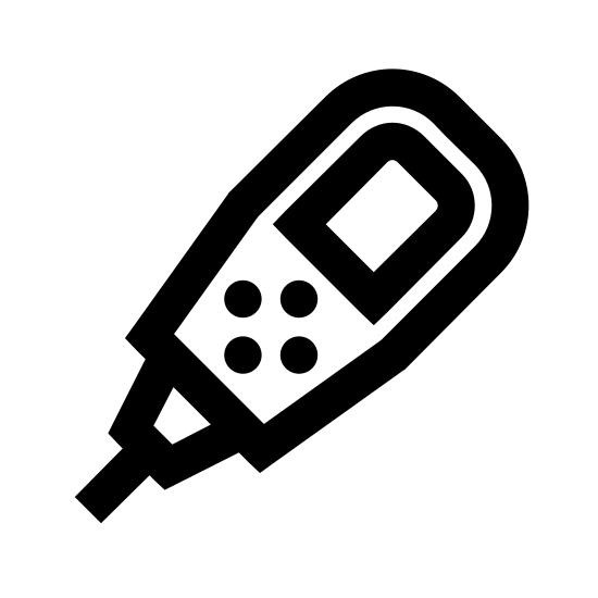 Computador de mergulho icon. A six-sided cylinder is pointed down and to the left. There is a square panel in the middle with four  dots near the end. The cylinder has a small nozzle attached at the end with two short lines coming out.