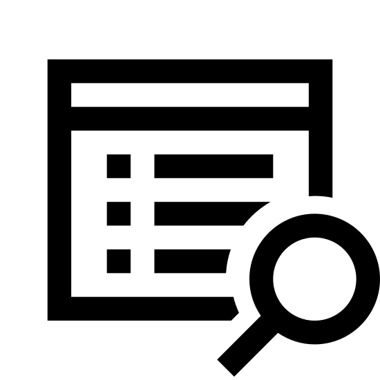 Search Property icon. The image shows a square filled with dots and lines signifying writing.  There is a border at the top that gives the impression that this is an internet window. Overlapping the bottom corner of this window is a magnifying glass.