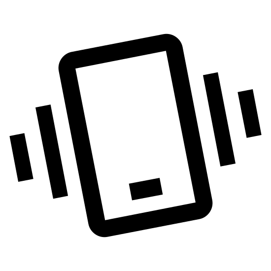 Potrząsnąć telefonem icon. This icon is depicting shaking your phone. There is a smartphone with two differently sized parallel lines on each side of it showing the shaking of the phone.