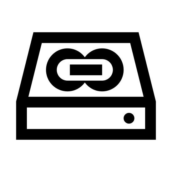 Dysk Slave icon. The icon is a simplified depiction of a hard drive linked as IDE slave in a computer setup. It consists of a rectangular prism, angled such that only two sides are visible, the front and the top. On top is inscribed a chain of three links. A small power light is visible on the front, to the right.