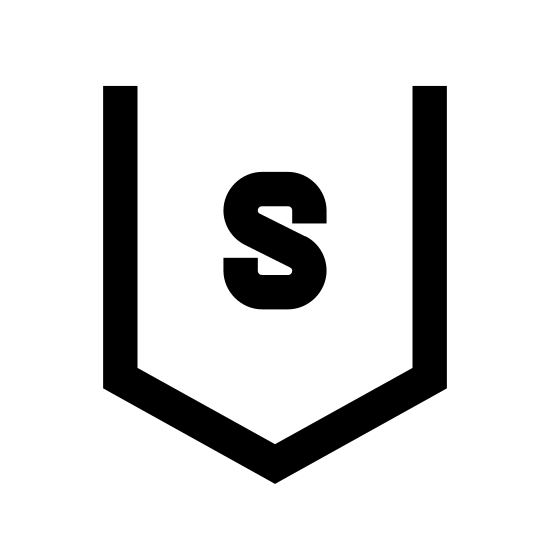 Sur icon. This logo indicates the direction South. It has a capital letter S in the center of a shape. The shape is open on the top, and has long vertical lines on the right and left of the S. At the bottom of the S it has two lines which join together to make a point - pointing south.