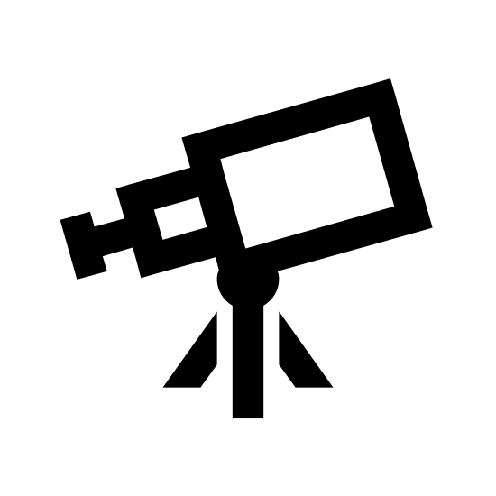 Teleskop icon. This icon is depicting a telescope. The main body of the telescope is conical shaped and segmented into three portions. The main body of the telescope rests on a tri-pod and is facing northeast.