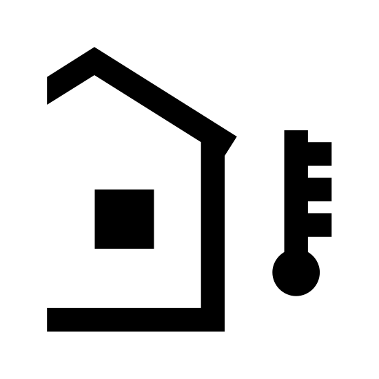 Temperature Outside icon. There is a lightbulb shaped object that looks upside down at the very right side. there is a circle inside of it with a line on it, facing up. there is a house on the left side