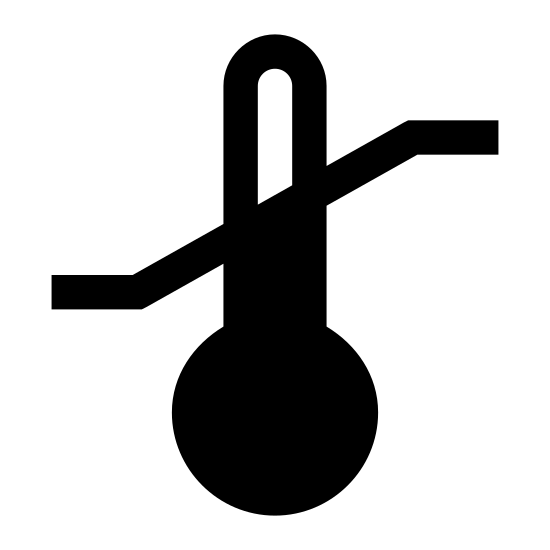 Temperature Sensitive icon. It's an image of a temperature sensitive warming. Its a phallic shaped object, with a round base forming into a tube shape at the top. There is a diagonal line threw the middle on the tube shape. Below this line equally spaced dots cover the bottom have of the tube shape all the way down to the round base.