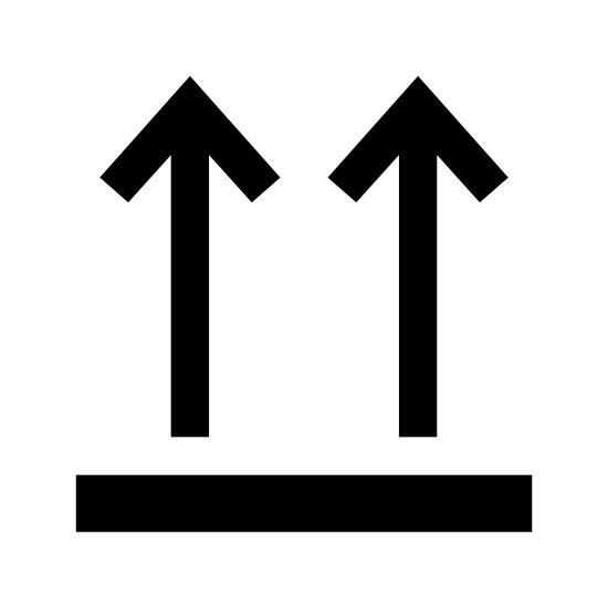 Tą stronądo góry icon. It is a logo showing that the direction is up.  It has a long, rectangular shape that looks like a beam.  Two arrows are situated on the top of the beam that are pointing up.