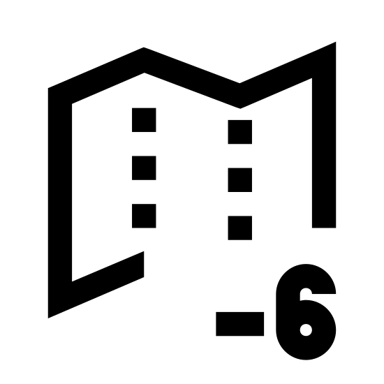 Timezone +6 icon. A rectangle with zigzag lines on the top and bottom sides has four columns of dots parsed inside. Overlapping the bottom right corner is a circle with plus six inside.