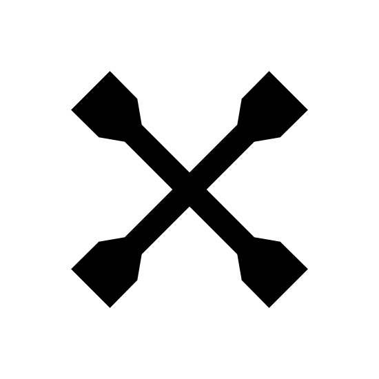 """Łyżka do opon icon. It's a logo for a tire iron that is depicted by an """"X"""".  The """"X"""" is made out of two tire irons that are crossing in the center.  Each tire iron are double straight lines with bulbs at the end.  Where they cross in the middle is a round circle not one on top of the other."""