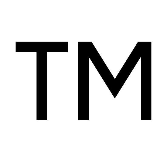 Znak towarowy icon. This is a drawing of the letter T on the left side and the letter M on the right side. Both letters are capitalized and they are hollow in the middle with dark lines on the outside.