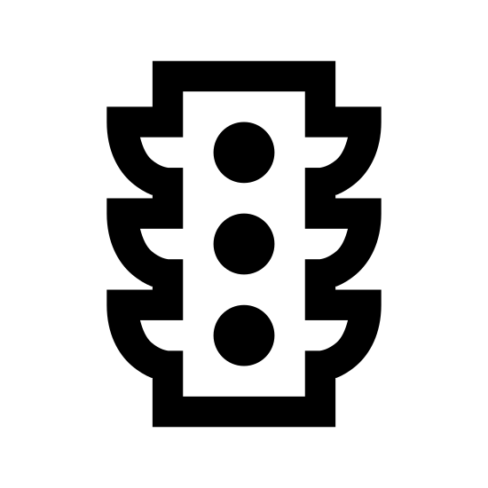 Feu de circulation icon. This traffic light logo is an upright rectangle with four round corners, and three circles stacked on top of one another horizontally. Upon each side of the rectangle, there are 3 right-angle triangles with one side touching the rectangle, and the slope of the triangles are facing downwards. These triangles are supposed to be overhangs which blocks glare from the sun on the traffic light.