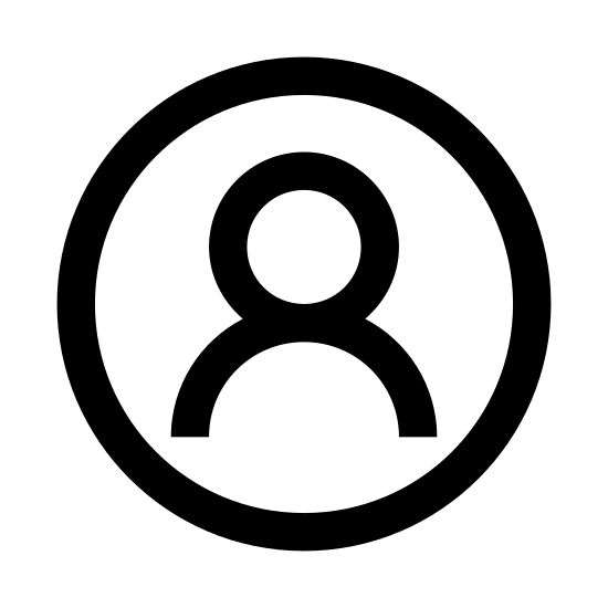 Männlicher Benutzer eingekreist icon. The logo is a silhouette of a male from the shoulders up. There are no features shown, other than the suggestion of ears at the side of the head. The silhouette is encased entirely in a circle.