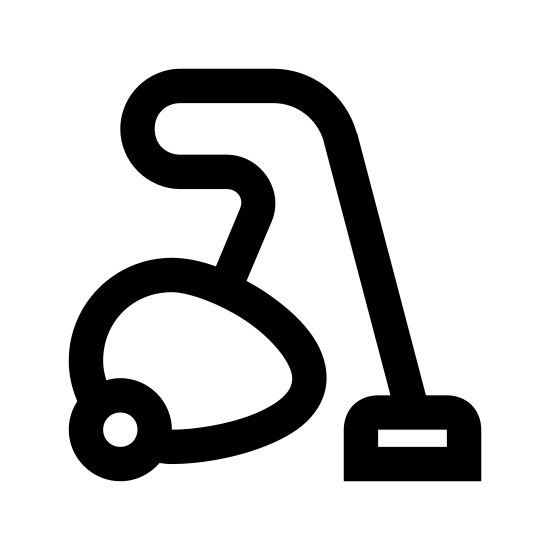 Vacuum Cleaner icon. There is an egg-shaped form, which is the vacuum cleaner body with a round wheel near the rear of the body for rolling along the floor. A hose comes out the top of the body towards the front of the body of the vacuum and curves up and to the left and then around to the right and down to the ground to attach to the rectangular-shaped head of the hose.