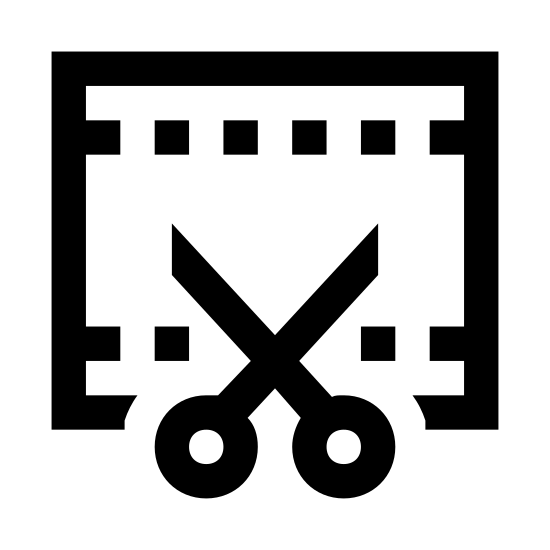 Przycinanie wideo icon. This icon represents video trimming. It is a rectangle with small squares on the top and bottom. In the middle is a line cutting across and leading down into two handles which represents scissors.
