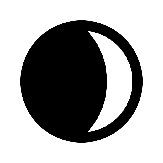 Zmniejszający się sierp Księżyca icon. The icon is round circle with a crescent on the left side and dots covering the remainder of the inside of circle to the left.  The dots are small and evenly spaced out to cover the inner of the circle.