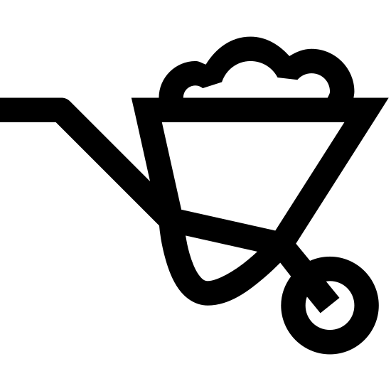 Taczka icon. The icon is a simplified depiction of a wheelbarrow. A triangular, hollow body is filled with nondescript material. A metal scaffold holding this body extends to the left to make a large handle, and to the right and bottom, to make a wheel on which the wheelbarrow is balanced when in motion.