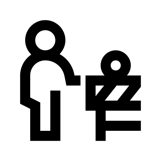 Road Construction icon. The icon is the shape of a human with his right arm extended. The right arm is touching a striped rectangle. Under the rectangle are two vertical skinny rectangles at either end and one horizontal even skinnier rectangle connecting the two towards the bottom.