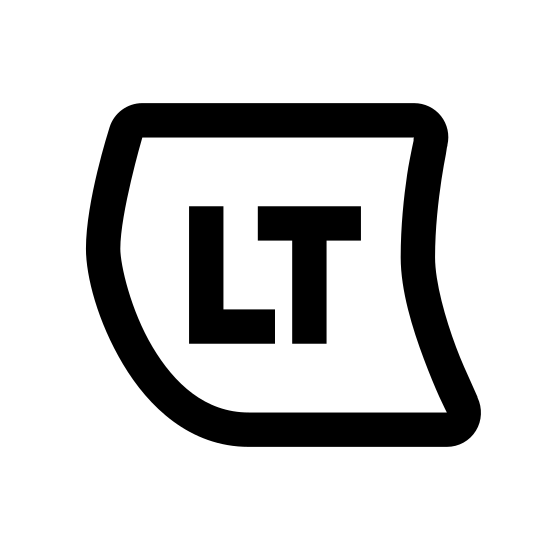 Xbox LT icon. This is a logo that has a capital L and capital T in the center. It is surrounded by a box that has a horizontal top and bottom, an outward curving left side and an inward curving right side.