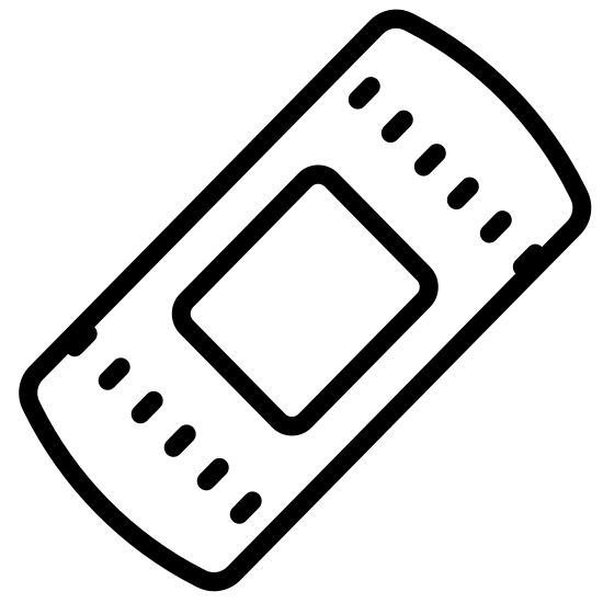 Пластырь icon. The object is shaped like a bandage, which is a long rectangle with the two shorts sides in a convex shape as opposed to straight lines.  There are two parallel lines slightly apart in the center of the rectangle.  Towards both ends of the convex sides are 3 dots each arranged in a triangular fashion.