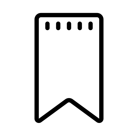 Bookmark icon. The image appears to be a flag or banner. The basic shape is a rectangle with the long sides standing vertically. At the bottom instead of a straight line to close the rectangle the center point of that line dips up like a triangle is missing from the bottom of the rectangle.