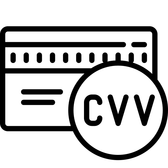Kod weryfikacyjny karty icon. The icon is shaped like a rectangle with curved corners and towards the top is a shaded rectangular strip that runs left to right. There is a circle at the center of the rectangle with the letters CVV in it with horizontal lines at the top and bottom of the letters. The circle overlaps the rectangle a bit and sticks out slightly at the bottom.