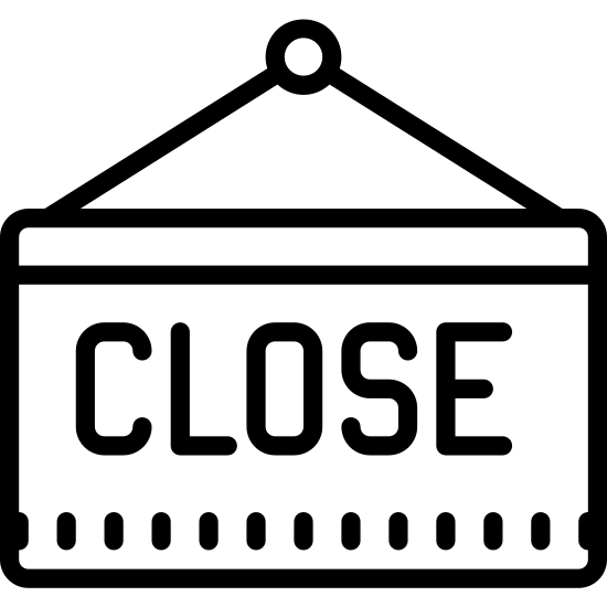 "Znak zamknięte icon. The image is a rectangle, with two lines stretching from its top, that join to form a triangle. Inside of the rectangle, is the word ""close"", spelled with each letter capitalized."