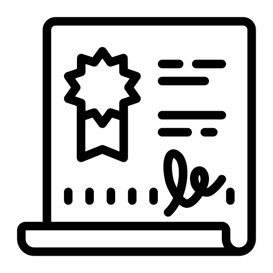 Diplôme 2 icon. Looks like a rectangle with the top half folded in front to create a sort of tube shape. near the top inner region of the rectangle are two parallel horizontal lines. beneath this is a ribbon like drawing.
